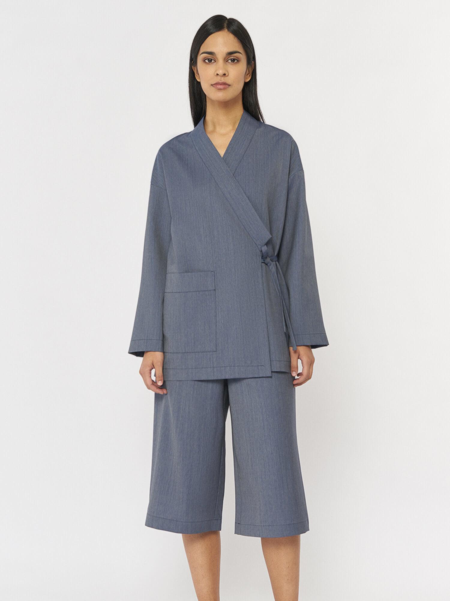 Шорты Saori в пижамном стиле, Синий