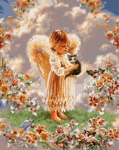 Картина раскраска по номерам 30x40 Ангелок с котенком на руках