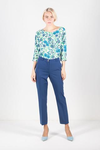 Фото синие укороченные классические брюки с прорезными карманами - Брюки А493-741 (1)