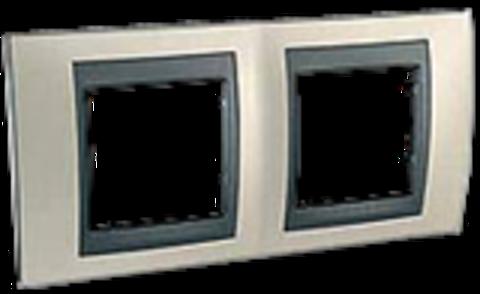 Рамка на 2 поста. Цвет Опал-графит. Schneider electric Unica Top. MGU66.004.295