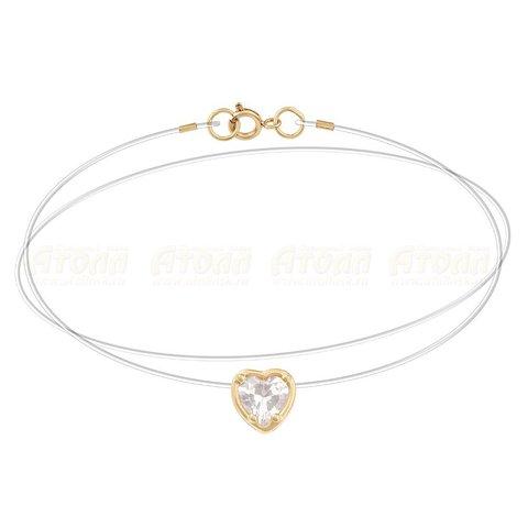 Золотой бегунок-сердечко на леске с замками из золота 585 пробы