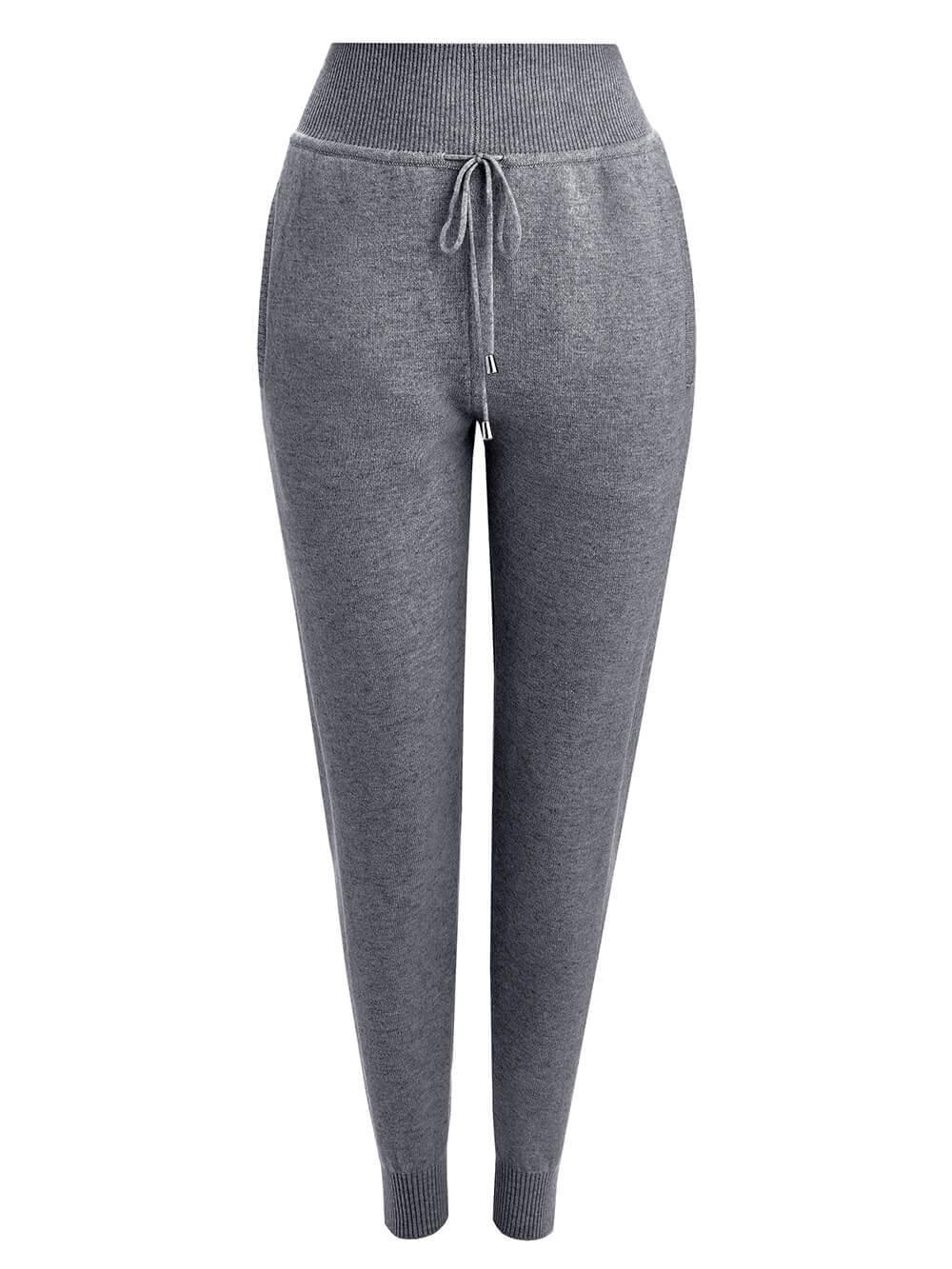 Женские брюки темно-серого цвета из 100% кашемира - фото 1