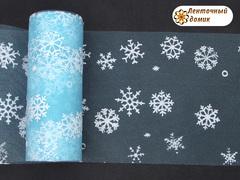 Фатин со снежинками голубой ширина 15 см