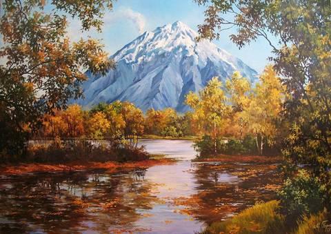 Картина раскраска по номерам 30x40 Вид на гору