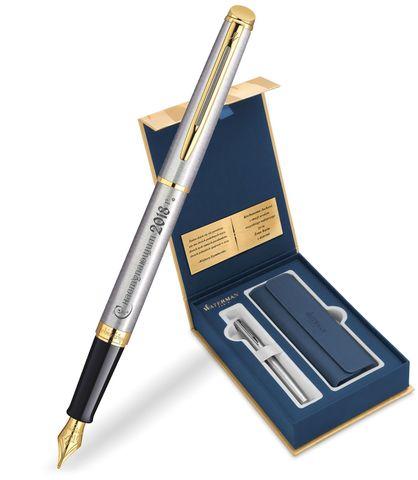 Набор с гравировкой: Чехол и Перьевая ручка Waterman  Hemisphere Essential, St. Steel GT123
