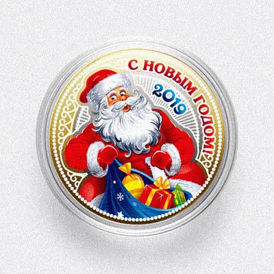 """Дед Мороз. С Новым Годом! """"Новый год 2019"""". Год Свиньи. Гравированная монета 10 рублей"""