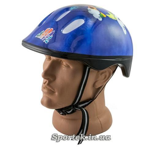 Дитячий велосипедний шолом (синій з літачком)