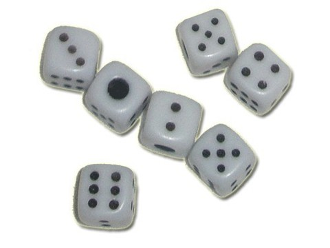 Кубик игровой №12. Цвет белый. Продается упаковками. В упаковке 100 шт. 12#-Б