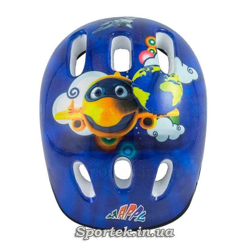 Вид згори на дитячий велосипедний шолом (синій з літачком)