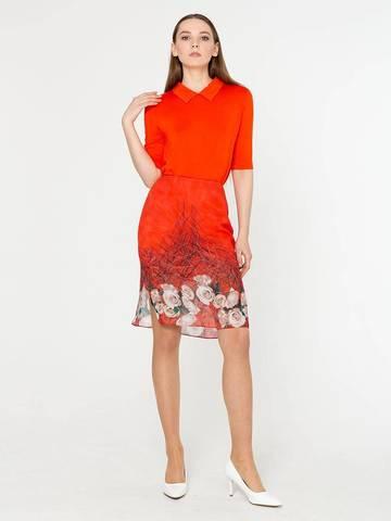 Фото сексуальная красная юбка с цветочным принтом и разрезами - Юбка Б798-541 (1)