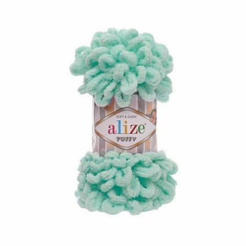 Купить Пряжа Alize Puffy Код цвета 19 Светло-бирюзовый | Интернет-магазин пряжи «Пряха»