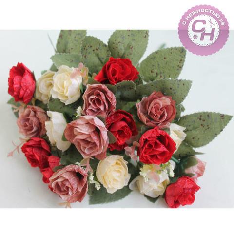 Розы искусственные мраморные мини, букет 21 голова, 7 веток, 35 см.