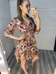 летнее платье с поясом недорого