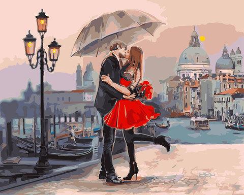Картина раскраска по номерам 30x40 Романтически поцелуй под зонтом