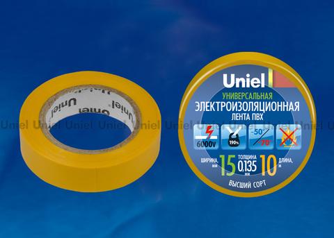 UIT-135P 10/15/01 YEL Изоляционная лента Uniel 10м, 15мм, 0,135мм, 1шт, цвет Желтый
