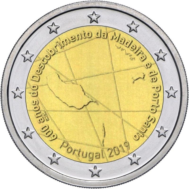 2 евро. 600 лет открытию острова Мадейра. Португалия. 2019 год