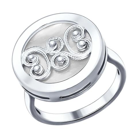 94012049- Кольцо с перламутром и сканью из  серебра от SOKOLOV