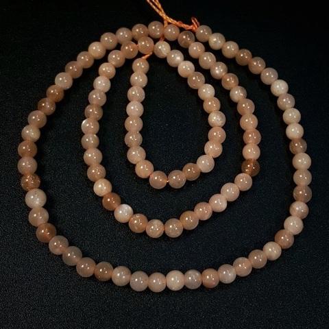 Бусины лунный камень персиковый А шар гладкий 4 мм