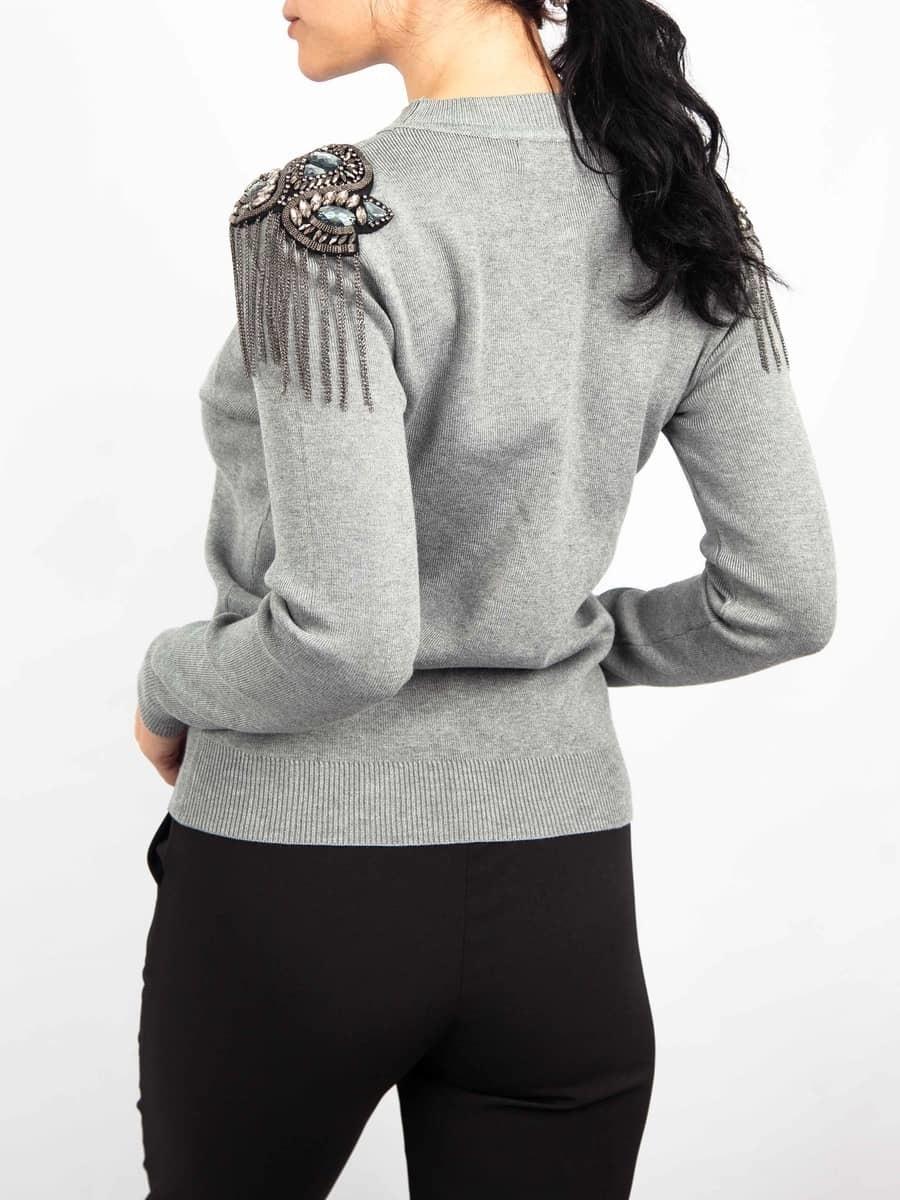 Moda Кофта со стразами на плечах