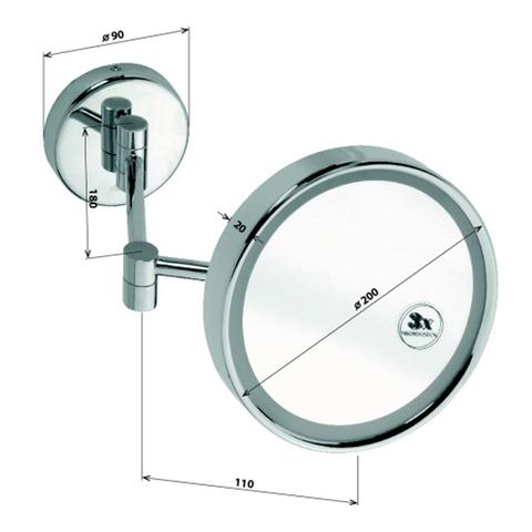 Косметическое зеркало настенное Bemeta D200мм. с подсветкой