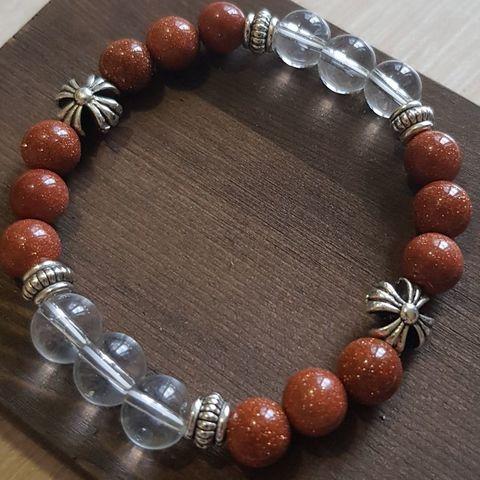 Браслет из натуральных камней: оранжевый Авантюрин и Горный хрусталь