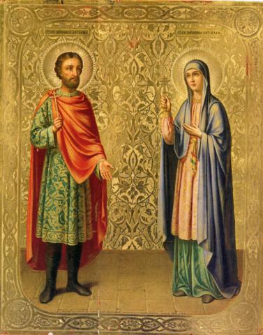 Икона святые Адриан и Наталия на дереве на левкасе мастерская Иконный Дом