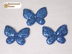 Мягкий декор Бабочки глиттерные синие № 1