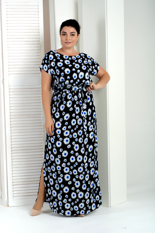 Стелла. Длинное платье больших размеров. Ромашки