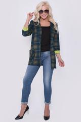 Уютный пиджак свободного кроя из вискозы хеви. Без подклада.Рукав 3/4 с контрастными манжетами. Функциональные карманы. (Длина: 44-74см; 46-75см; 48-76см; 50-77см)