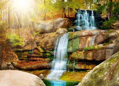 Картина раскраска по номерам 30x40 Солнечный водопад