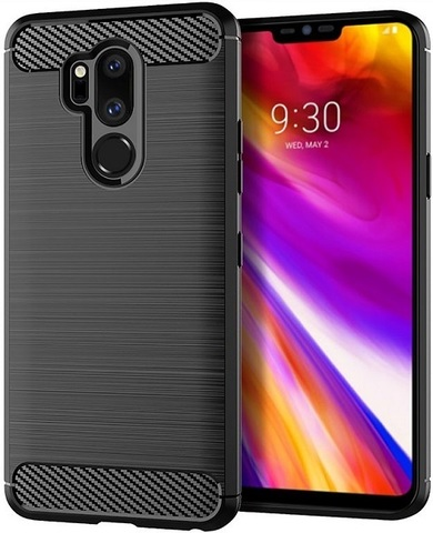 Чехол LG G7 ThinQ (G7+ ThinQ) цвет Black (черный), серия Carbon, Caseport