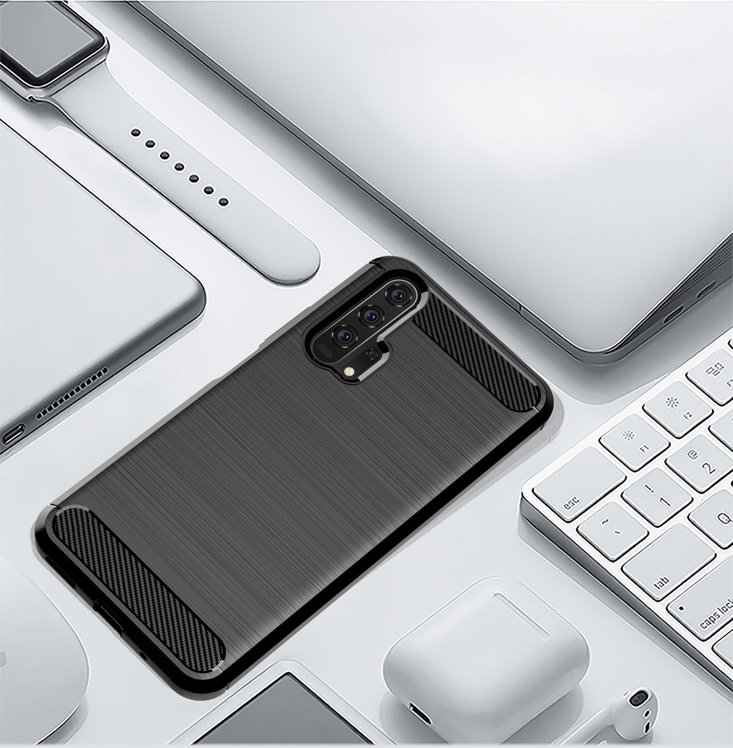 Чехол Honor 20 (Honor 20S, 20 Pro, Huawei Nova 5T) цвет Black (черный), серия Carbon, Caseport