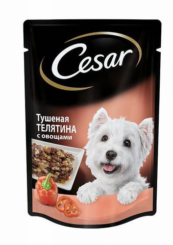 Cesar пауч для собак телятина с овощами 100г