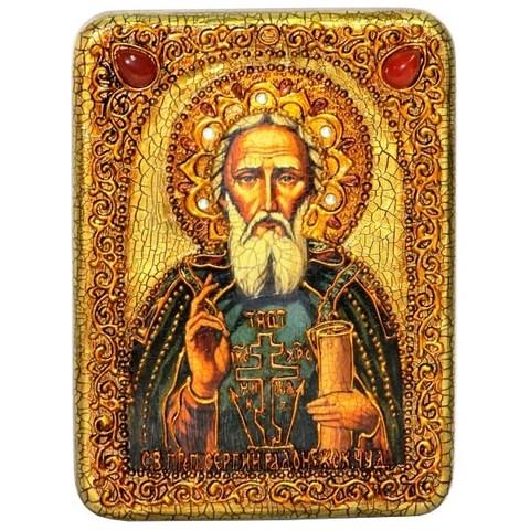 Инкрустированная икона Преподобный Сергий Радонежский чудотворец 20х15см на натуральном дереве в подарочной коробке