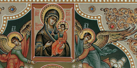 Икона святая Ксения Петербургская со святыми на дереве на левкасе мастерская Иконный Дом фрагмент