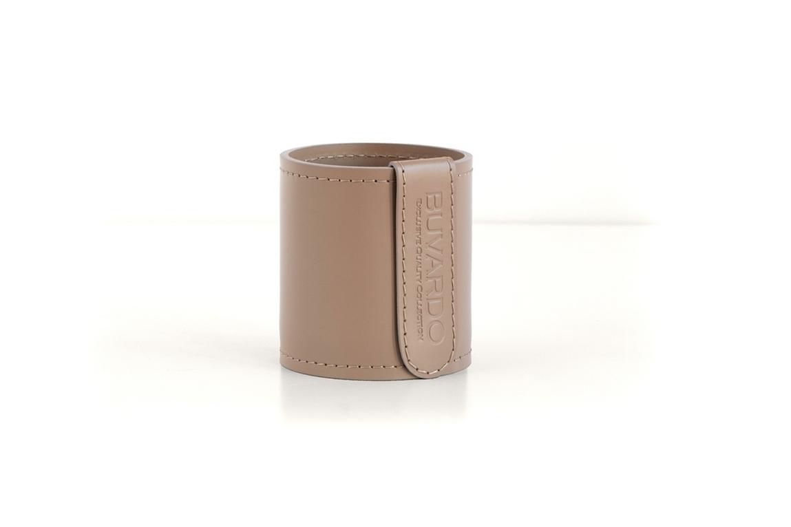 Кожаный стакан для ручек и карандашей Н10 см кожа Cuoietto цвет какао.