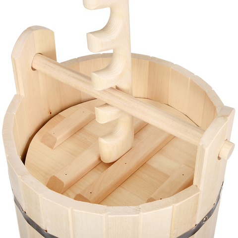 Кадка из липы для воды и заготовки солений с замком и гнётом 10 л