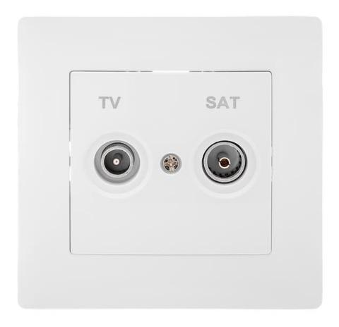 Розетка телевизионная TV+SAT с рамкой. Цвет Белый. Bravo GUSI Electric. С10TS1-001-СБ