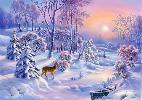 Картина раскраска по номерам 30x40 Олененок в зимнем лесу