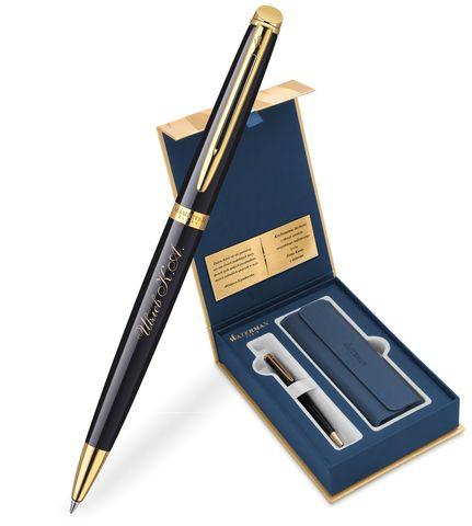 Набор с гравировкой: Чехол и Шариковая ручка Waterman Hemisphere Mars цвет: Black GT123