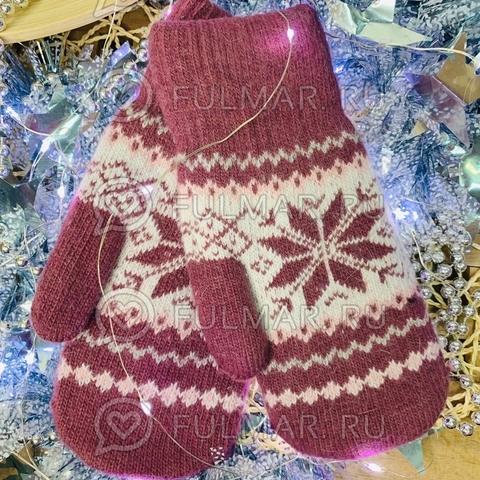 Варежки шерстяные вязаные Большая Снежинка (цвет: Малиновый)