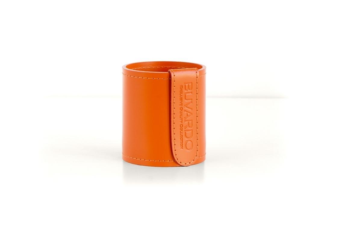 Кожаный стакан для ручек и карандашей Н10 см кожа Cuoietto цвет оранжевый.