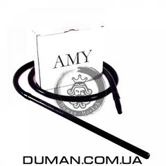 Cиликоновый шланг и алюминиевый мундштук AMY DeLuxe черный для кальяна