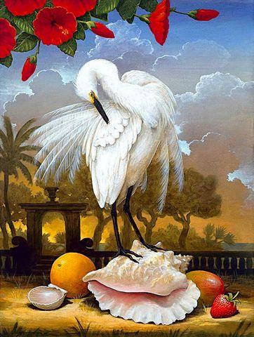 Картина раскраска по номерам 30x40 Цапля на ракушке