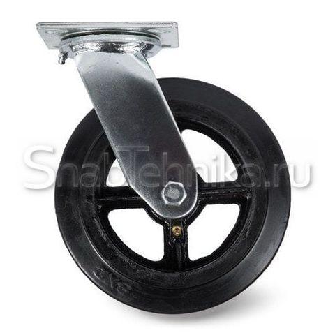 Большегрузная поворотная колесная опора SCd 125 литая черная резина