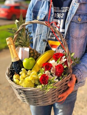 Цветы, Фрукты и напиток в корзинке #20421