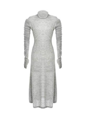 Женское светло-серое платье миди с длинным рукавом - фото 2