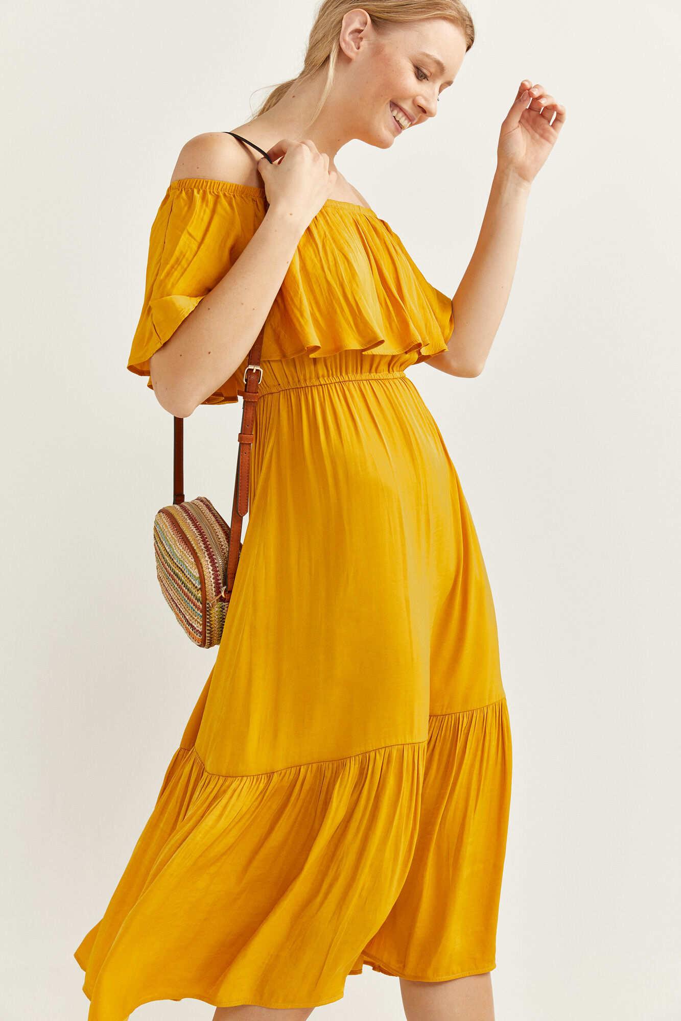 Сукня-міді з відкритими плечима