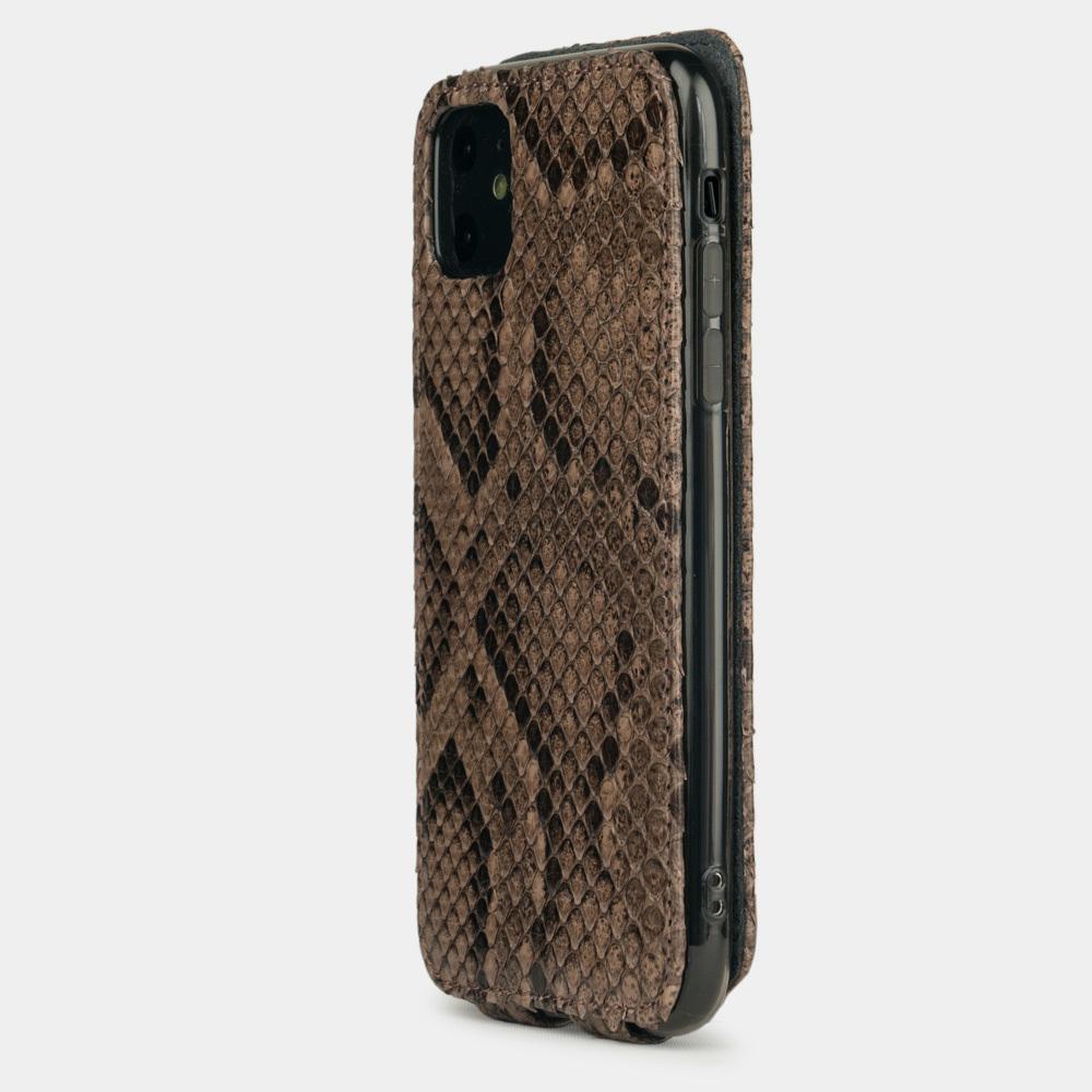 Чехол для iPhone 11 из натуральной кожи питона, бежевого цвета