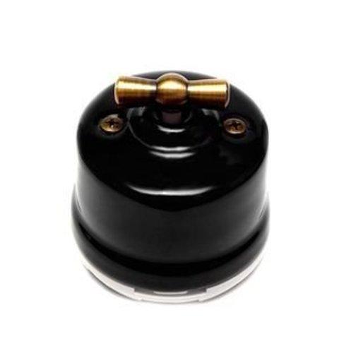 Выключатель одноклавишный проходной, для наружного монтажа. Цвет Чёрный. Salvador. OP11BL